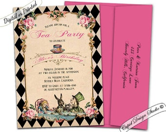 Alice in wonderland invitation Mad hatter party tea