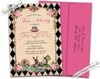 Alice in wonderland invitation printable/Alice and wonderland invitation/Mad hatter invitations/Alice in wonderland invite. Tea party. AB1
