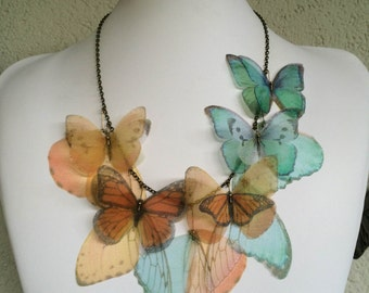 I Will Fly Away - Handmade Orange and Aqua Silk Organza Butterflies and Wings Necklace