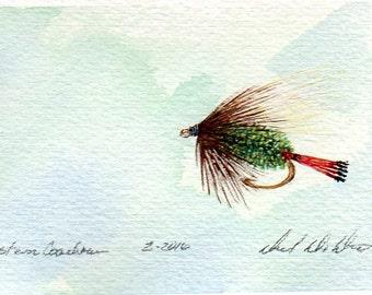 Art de pêche à la mouche - Original Art - aquarelle - Ouest cocher - mouche sèche - Made in Michigan - Michigan artiste - Fly pêche - cadre noir