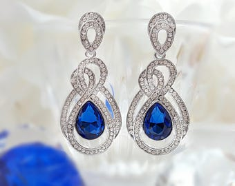 Blue Sapphire Earrings Silver - Blue Statement Earrings - Teardrop Crystal Earrings - Dramatic Earrings - Long Dangle Earrings Evening E2182