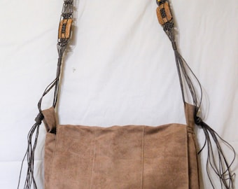 Suede Purse with Leather Strap