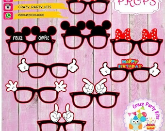 Props #Mickey & #Minnie #Mouse Kit lenses #Imprimible (#Accesorios) #DIY PhotoBooth