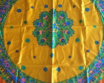 "Vintage Orange & Yellow Mandela Cotton Sateen Fabric Tablecloth 44"" x 54 or 48"" Round Mandela- mandela tablecloth, mandela fabric, hippie"