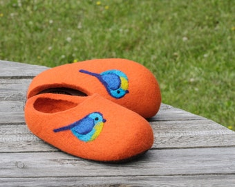 Felted Soft Wool Slippers in Orange  with Blue  Birds decor.