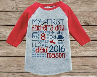 Kids First Father's Day Outfit - Red Raglan Shirt  - Kids 1st Father's Day T-shirt for Baby Boys - Custom Stats with Name and Age