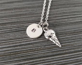 Ice Cream Charm Necklace - Ice Cream Necklace - Personalized Necklace - Custom Gift - BFF Necklace - Friendship Necklace - Food Necklace