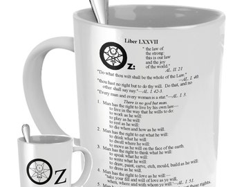 Esoteric coffee mug - Liber OZ Thelema coffee cup