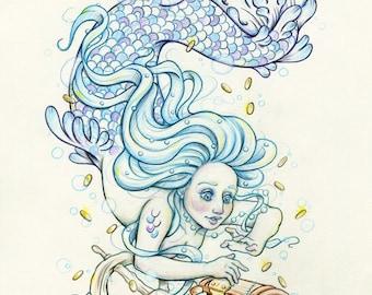 "Mermay#5 ""The Treasure Chest"" - Original Mermaid Drawing on Moleskine ORIGINAL OOAK Art"