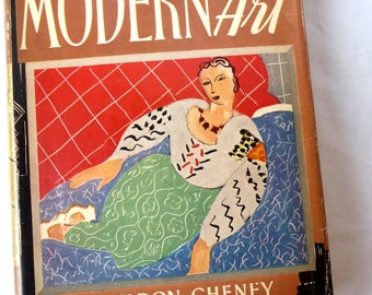 The Story of Modern Art, Sheldon Cheney, Vintage 1941, vintage Art Book,  First Edition, hardcover book, history of art,information,pictures