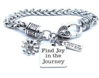 Find Joy in the Journey Bracelet, Flower Bracelet, Gift for Her, Inspirational Bracelet