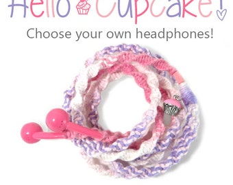 Wrapped Earbuds With Pink Cupcake Charm - Custom Tangle Free Headphones - iPhone 8 Earpods, Sony, Skullcandy Earphones - Kitschy Kawaii Tech