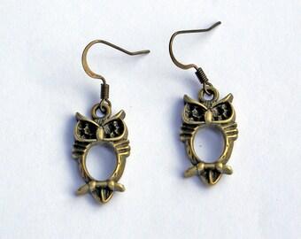 Owl Earrings, Little Owl Earrings, Antique Brass Earrings, Crafty Earrings, Owl Jewelry, Owls