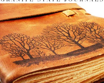 REAL LEATHER JOURNALForest For The Trees Personalized Rustic Leather Journal Sketchbook Notebook Travel Gift Journal in Primitive Brown