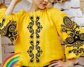 Vyhyvanka blouse Embroidered bead top Ukrainian clothing Beaded blouse Ukrainian embroidery