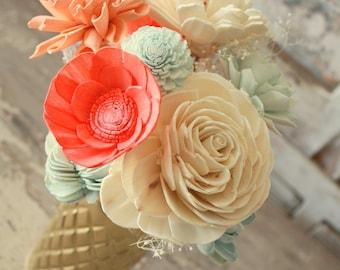 Sola flower bouquet, milk glass vase, sola wood flower centerpiece, home decor, vase of sola flowers in coral and aqua, ecoflower