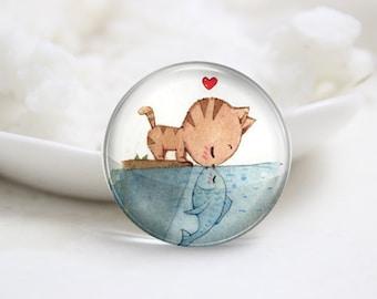 Handmade Round Cat and Fish Photo Glass Cabochons (P3591)