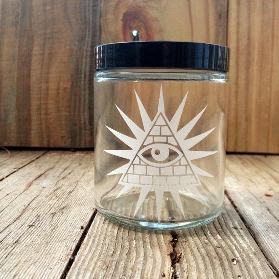 All Seeing Eye Stash Jar | Illuminati Glass | Free Mason