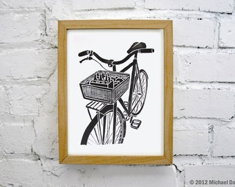 Bike Art and Beer Print - Black Wall Print