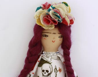 Frida Khalo, handgemaakte lap pop pop