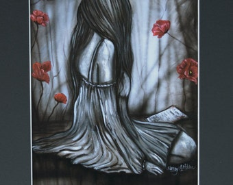 Sad Woman Red Poppies Art Print Black Matted To 11x14 Black Gray If You  Love Something