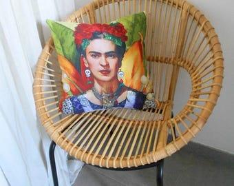 """Housse de coussin motif Portrait """"Frida Kahlo""""  No 1"""
