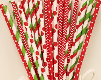 Paper Straws, 25 Christmas Party Paper Straws, Paper Drinking Straws, Vintage Christmas, Red Paper Straws, Holiday Paper Straws, Mason Jars