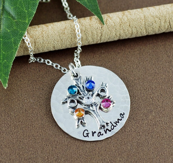 Personalized Family Tree Necklace, Tree of Life Necklace, Birthstone Necklace, Grandmother Necklace, Mommy Necklace, Gift for Grandma