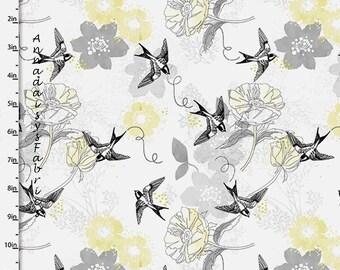 Jaune, noir & gris fleuri et oiseau tissu, oiseau couette tissu, quilteuses Palette Marbella Collection 12630 Quilt gris, fleurs tissu, coton