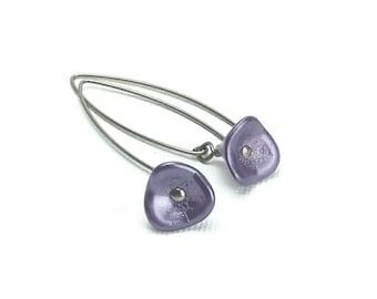Niobium Earrings Purple Flower on Arched Niobium Earwires, No Nickel Hypoallergenic Earrings for Sensitive Ears, Niobium Jewellery