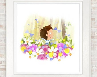 Flowers and Butterflies. A4 print. Beautiful image for a child's bedroom. Full of the imagination, wonder and character of childhood.