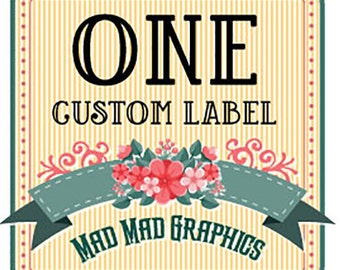 """One Custom Iron on or Sew on Fabric Label, Max size 4""""x6"""""""