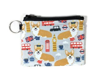 Corgis in London Coin Purse, Mini Zipper Pouch, Coin Pouch, Earbud Holder, change Purse, bridesmaid gift, coin pouch keychain
