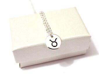 Taurus Necklace Sterling Silver, Taurus Zodiac Charm Pendant, Zodiac Jewelry, Astrological Jewelry, Taurus Constellation Zodiac Necklace