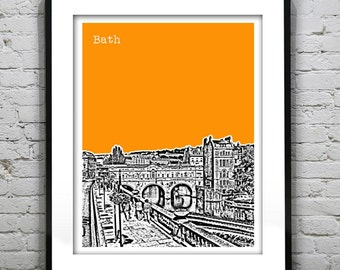 Bath Poster Art Print Pulteney Bridge Britain England UK Version 1