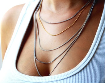 Multi layered chain necklace / gold layered necklace / grey statement necklace / layering jewelry / grey jewelry