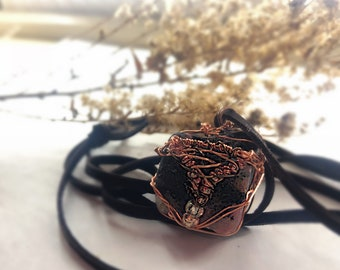 Moss Agate Wire Wrap Crystal Necklace