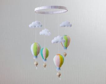Hot Air Balloon Mobile Cloud Mobile Girl Room Decor Crib Mobile Baby Mobile Baby Girl Nursery Decor Pastel Mobile Felt Mobile Boy Mobile Air