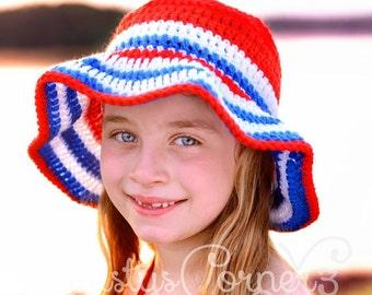 Crochet Sunhat for babies - toddler sunhat - child beach hat - wide brim hat - floppy hat - toddler hat - bucket hat