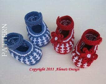 Knitting Pattern 032 - Knitting Shoe Pattern - Booties Knitting Pattern - Newborn Booties - Baby Boys Baby Girls - Red Blue Mary Jane Shoes