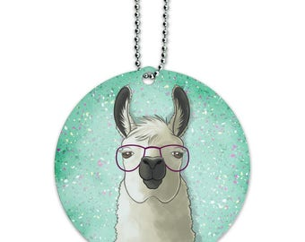 Hip llama with glasses round luggage id tag card suitcase carry-on