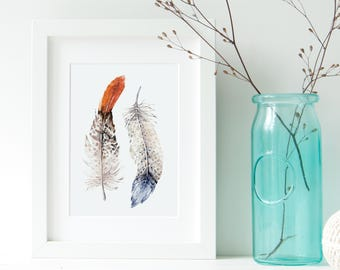 Feather poster - Feather Art Print - boho print - Watercolor feather - wall hanging art - Printable Art - feathers print  wall  boho print