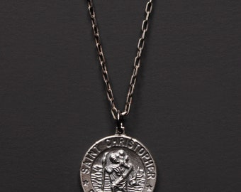 Silver St. Christopher Medal Necklace for Men - Sterling Silver St. Christopher Pendant - Oxidized Sterling Silver chain necklace for men