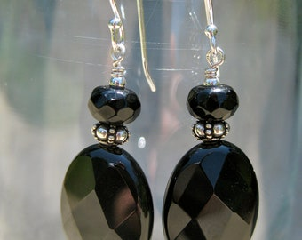 Black Faceted Dangle Earrings with Sterling Silver Earwires
