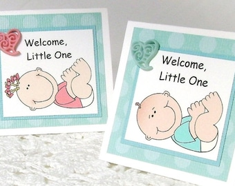 New baby gift card, Welcome baby, Whimsical baby, Baby shower card, Aqua dots, Heart, Gift enclosure card, Mini card, Baby boy, baby girl