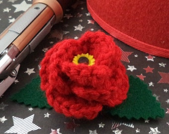 Amy Pond - Crocheted Rose Barrette - Red with a Sunflower (SWG-HB-DWAP02)