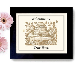 Welcome Sign Loves Bees Home Sweet Home Beekeeper Gift Honey Bees Bumble Bee Beehive Cabin Decor Outdoor Art Print Home Decor
