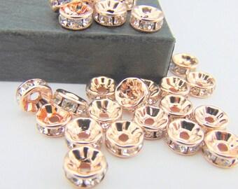 25 or 50 8mm Rose Gold Rondelle Beads, Rose Gold Rhinestone Beads, Spacer Beads, Rose Gold Jewellery Supplies