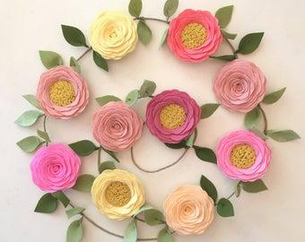 ROSE GARLAND // Felt Flower Garland // Floral Garland // Nursery Decor // Garden Party //  You Pick Custom Colors