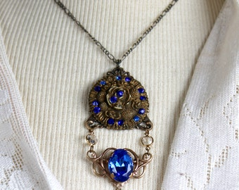 Assemblage Necklace, rich Blue Rhinestone pendant, antique button, vintage by oldnouveau jewelry, gorgeous, stunning, Victorian,